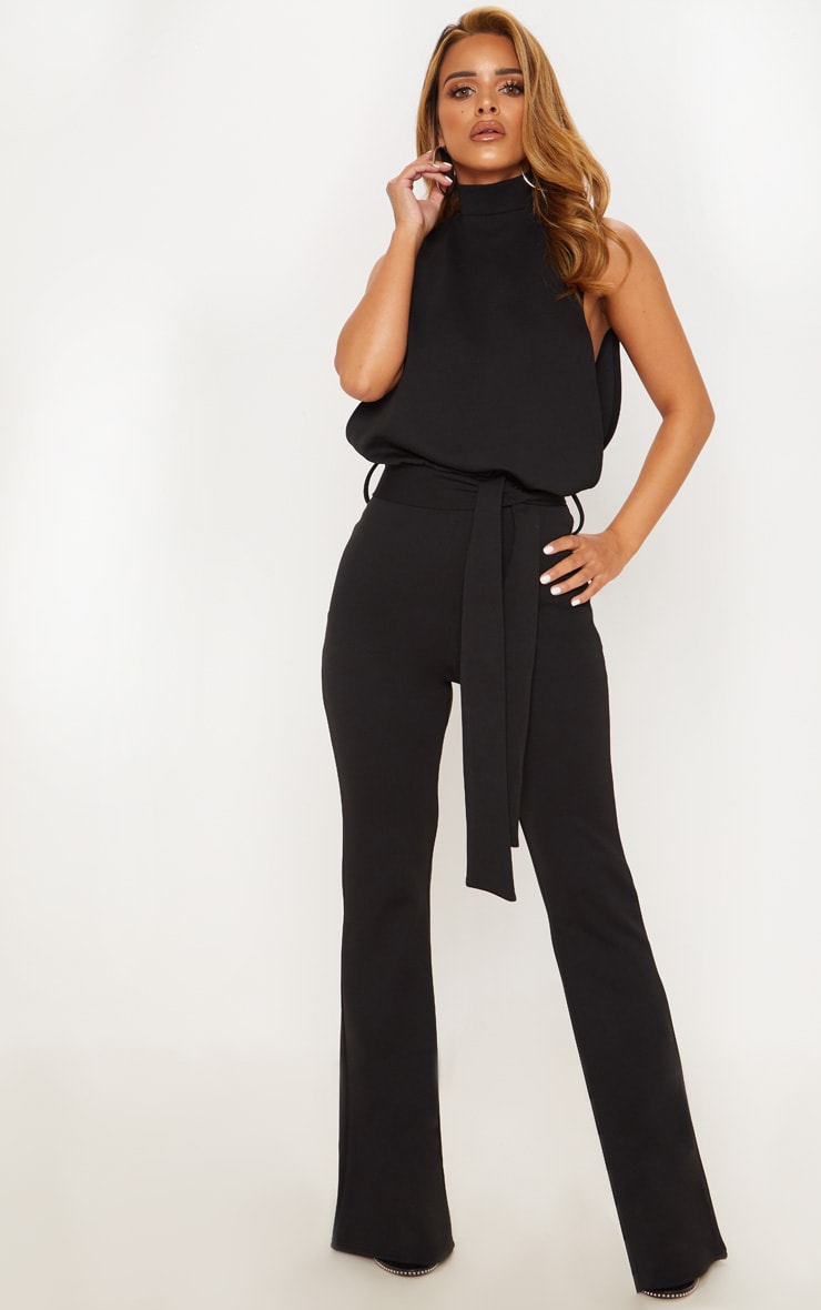 Petite Black Scuba High Neck Tie Waist Jumpsuit 4