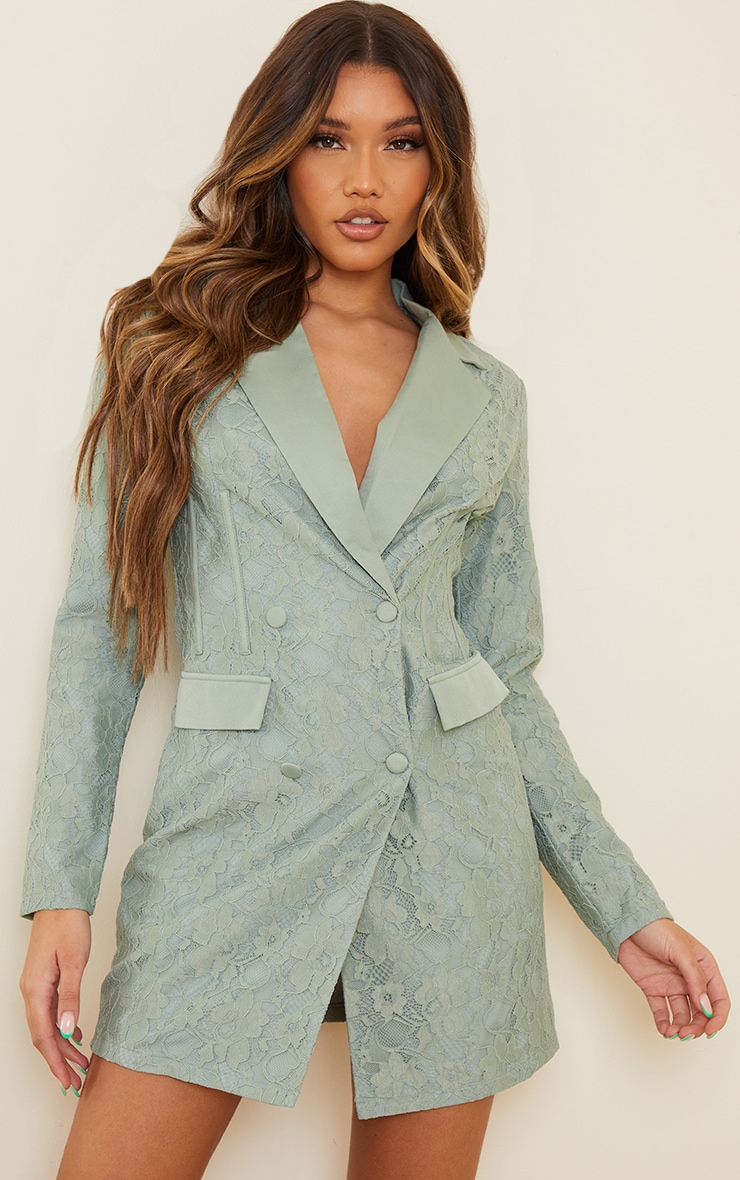 Sage Green Lace Boning Detail Blazer Dress
