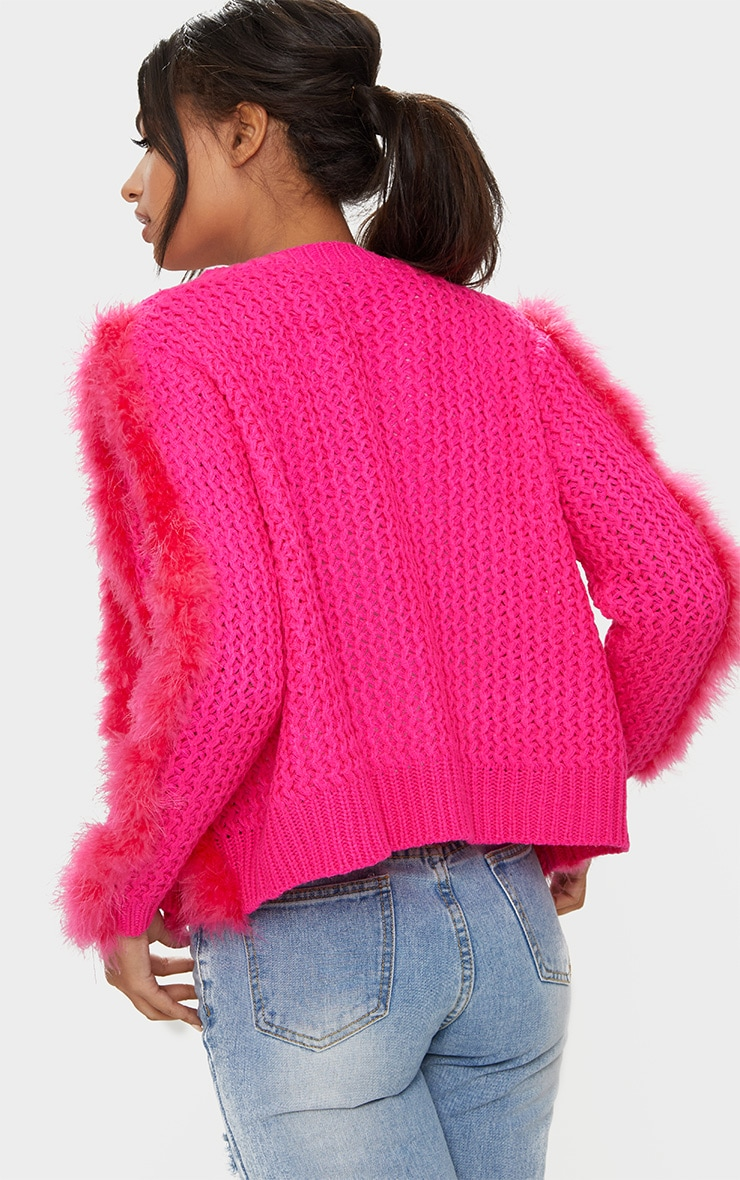 Pink Feather Cardigan 2