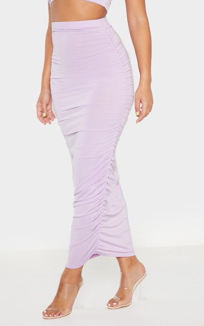 Lilac Second Skin Slinky Ruched Midaxi Skirt