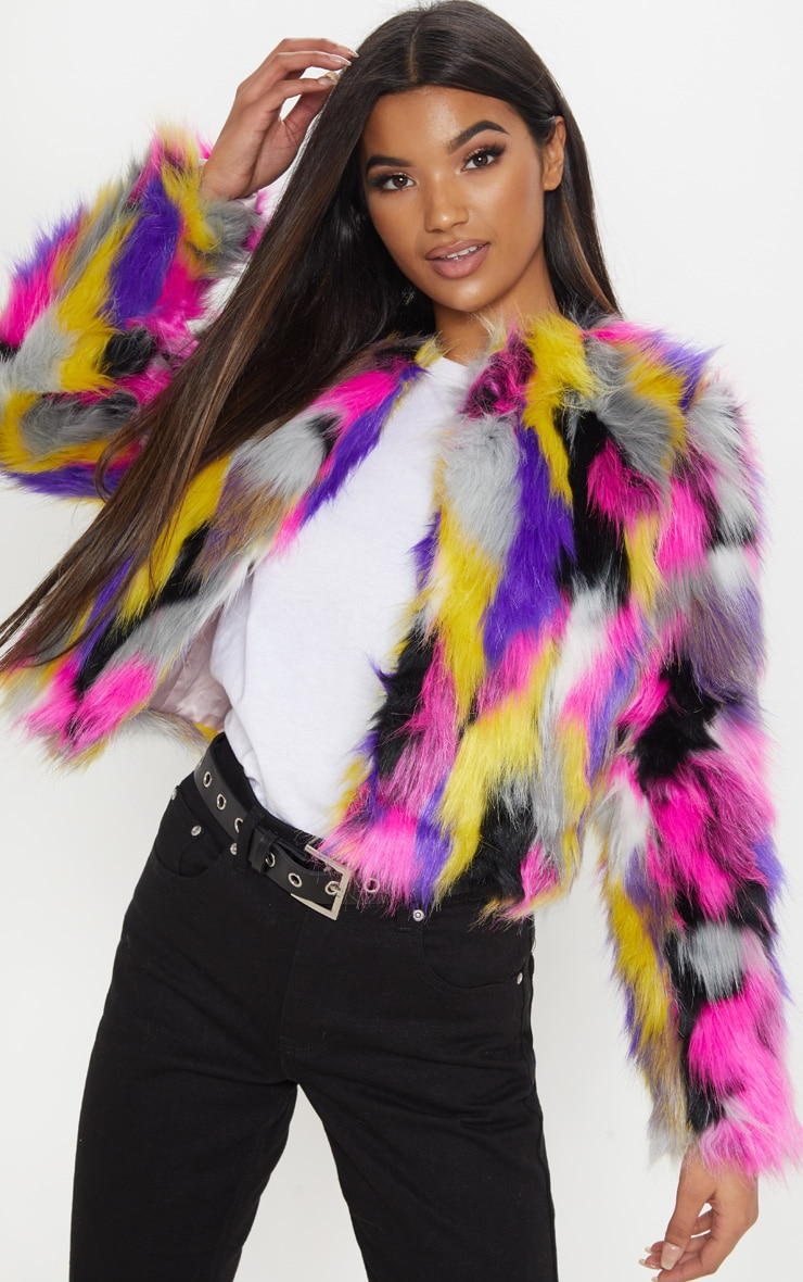 Elle Multi Faux Fur Jacket 1