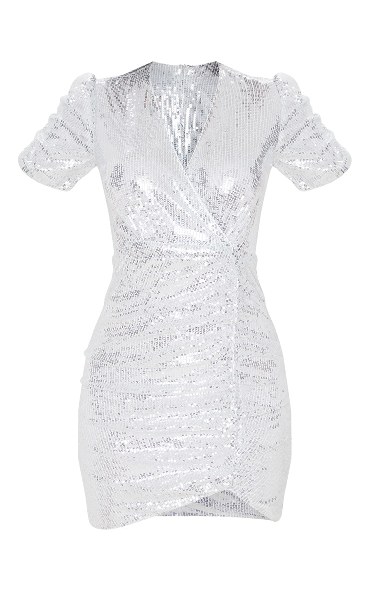 Silver Sequin Ruched Wrap Detail Short Sleeve Bodycon Dress 3