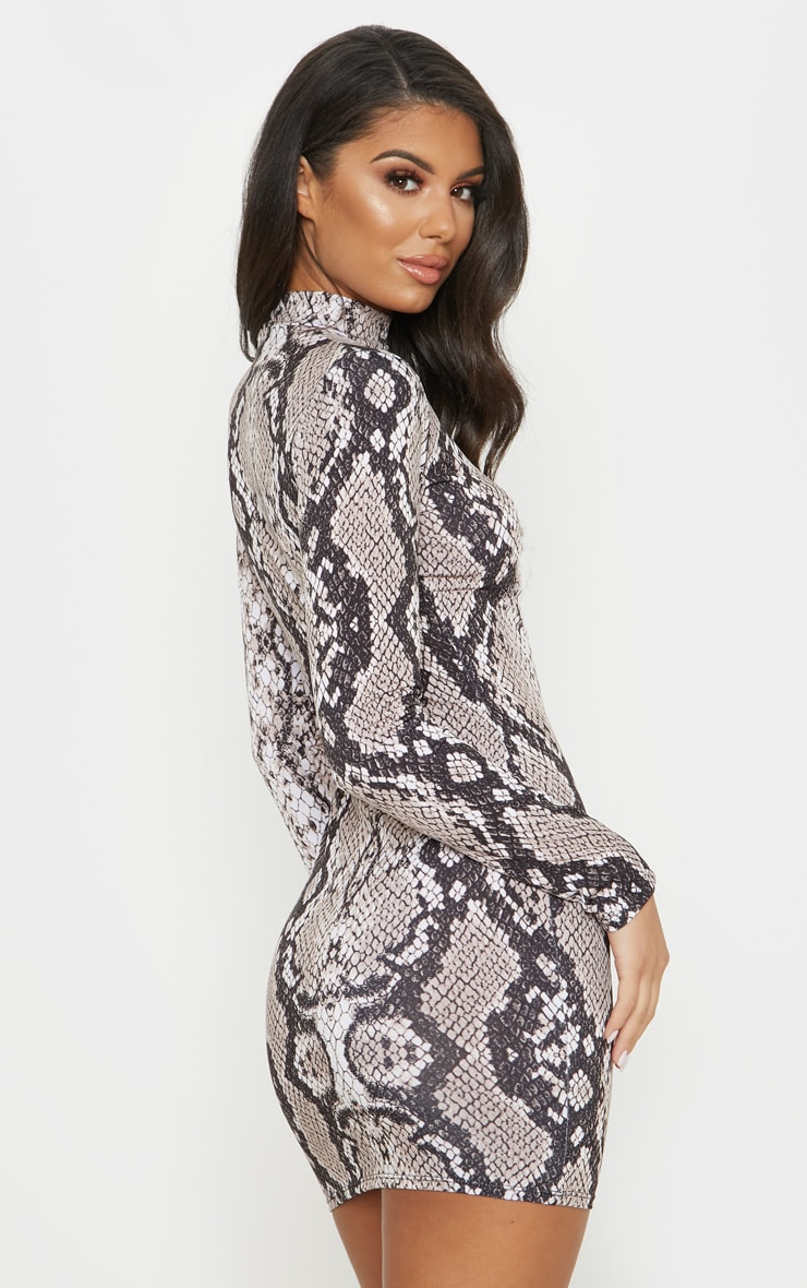 Tan Snake Print High Neck Bodycon Dress 2