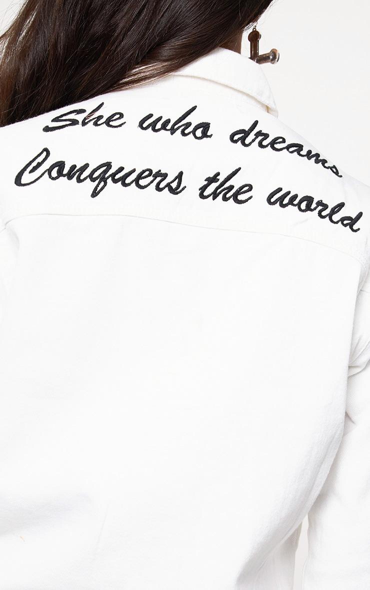 White She Who Dreams Slogan Denim Jacket 4