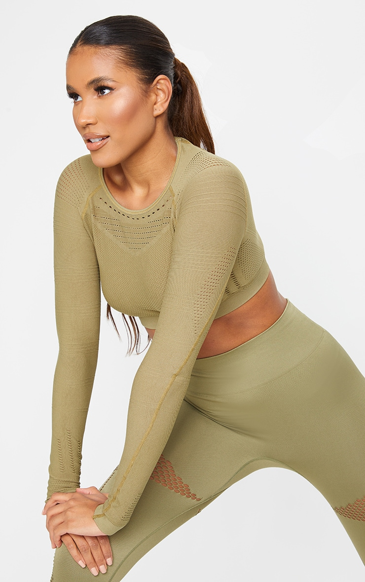 PRETTYLITTLETHING Khaki Sport Long Sleeve Cut Out Seamless Top 1
