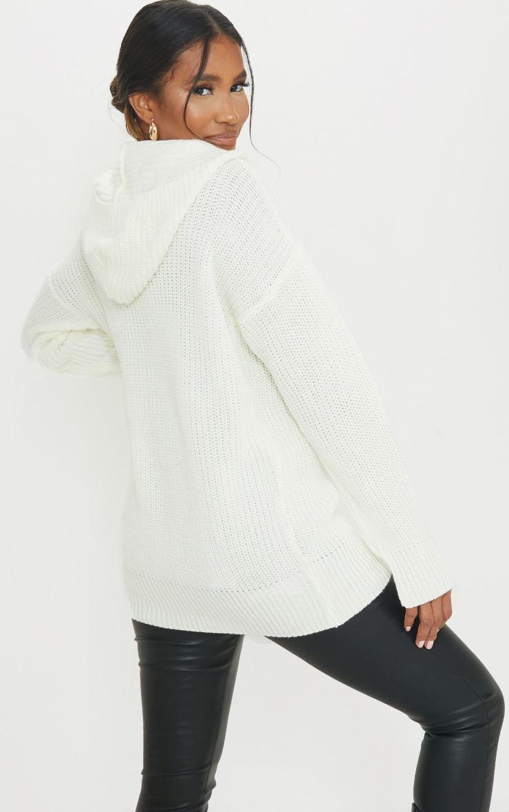 Cream Longline Knitted Zip Up Cardigan 2