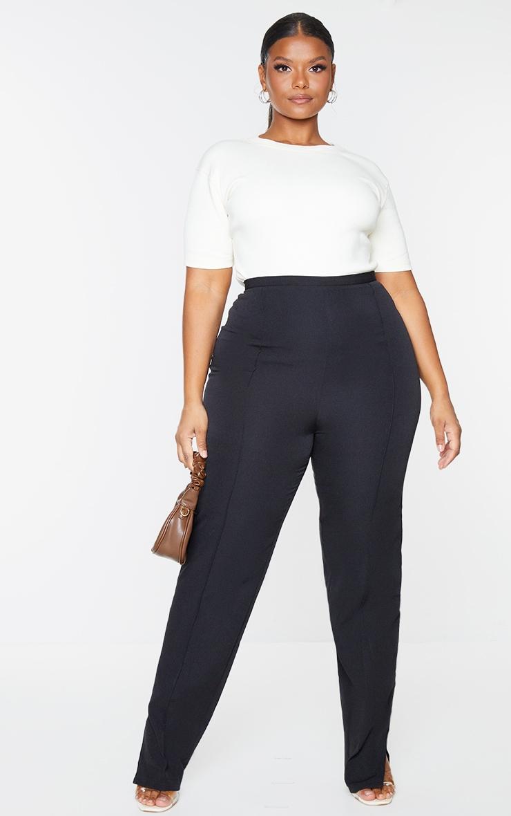 Plus Black Pocket Back Split Hem Woven Pants 1
