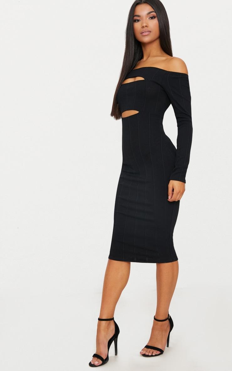 Black Bandage Long Sleeve Bardot Cut Out Detail Midi Dress  4
