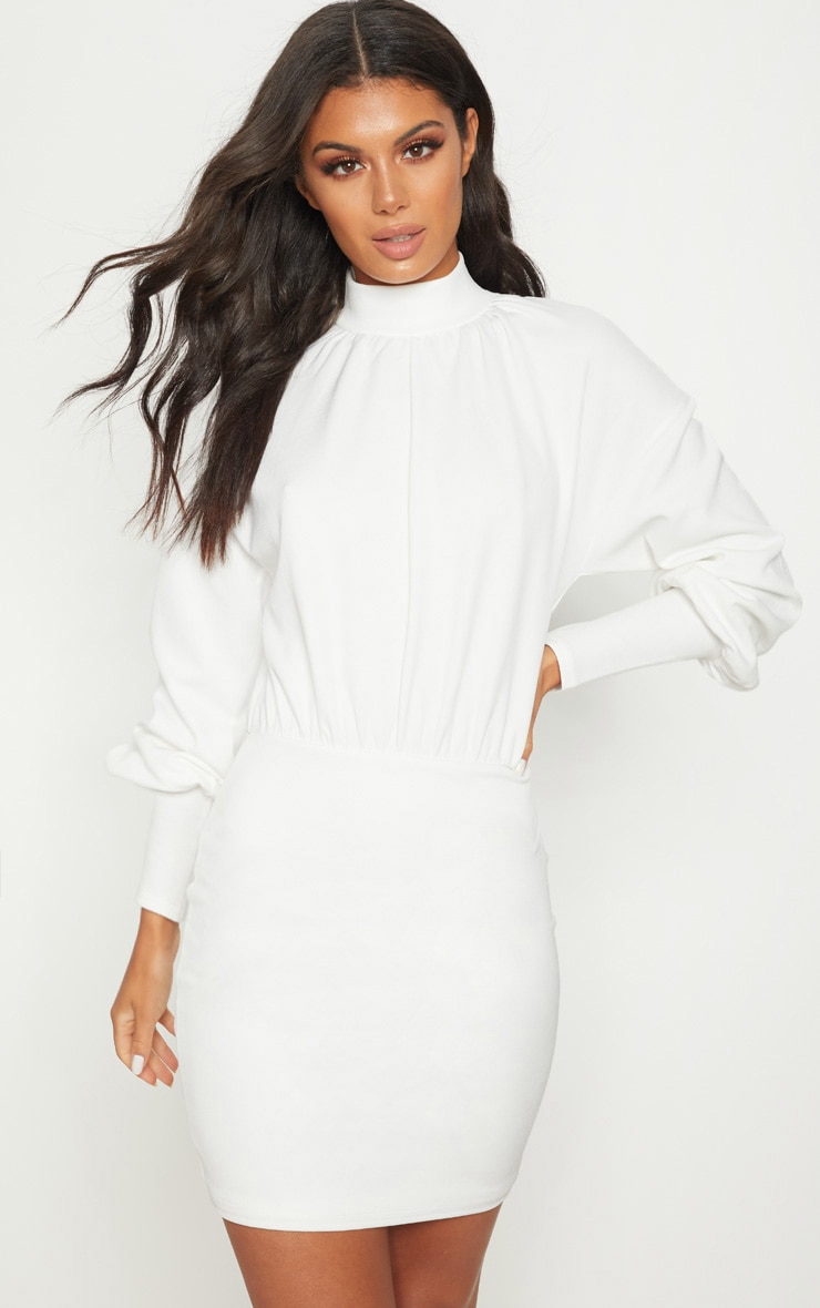 White High Neck Balloon Sleeve Bodycon Dress 1