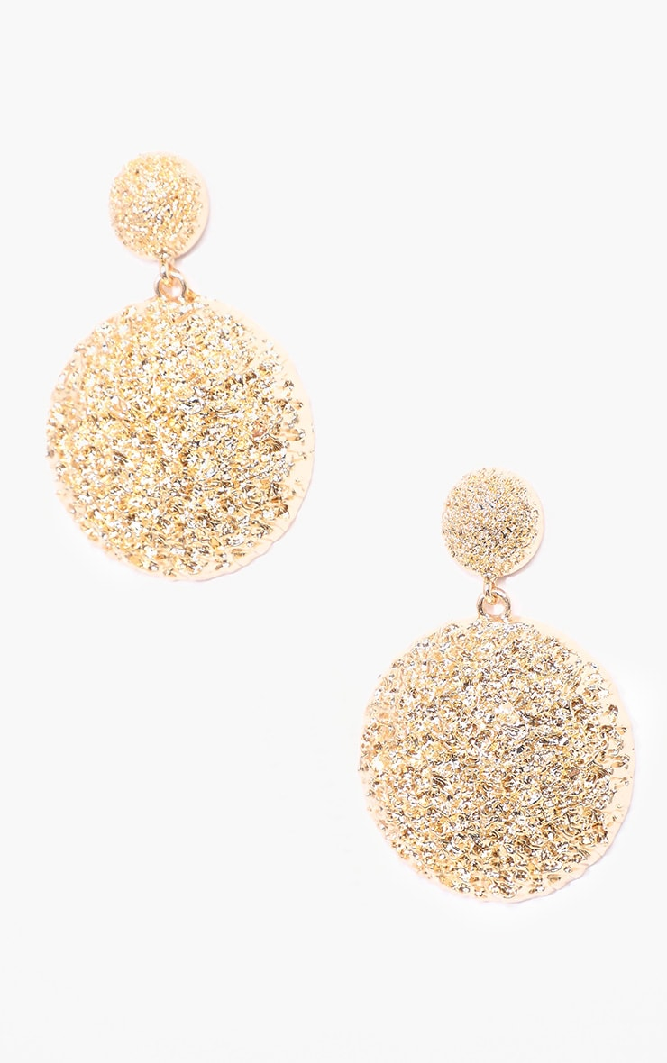 Gold Textured Domed Drop Earrings 1