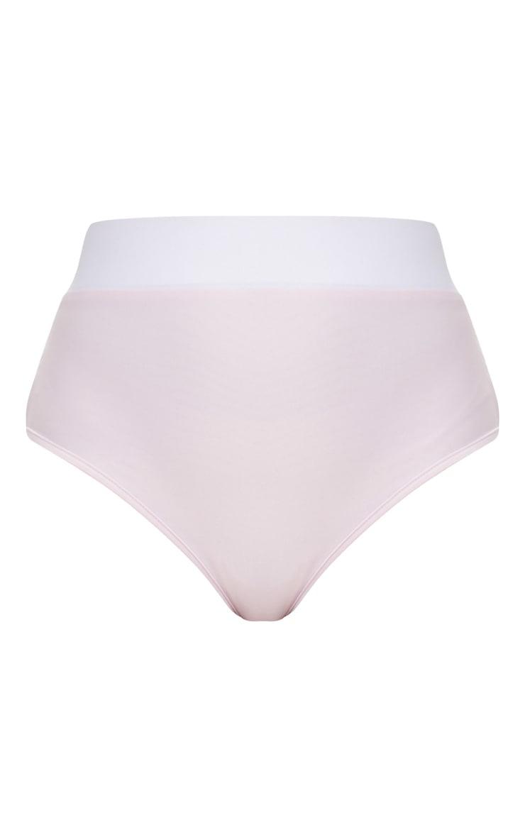 Lilac & White Contrast Beach Co-ord Bikini Bottom 3