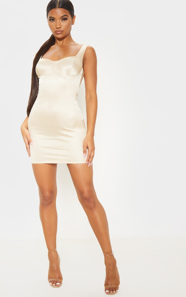 Champagne Shimmer Cup Detail Bodycon Dress 4