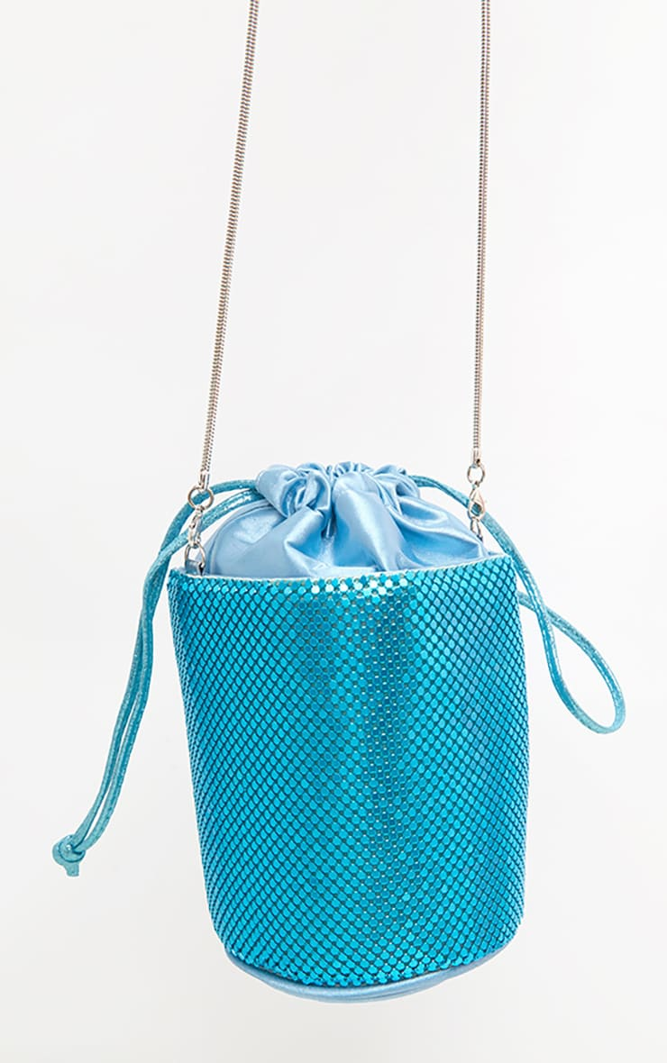 Blue Chain Mail Bucket Pouch Bag 4