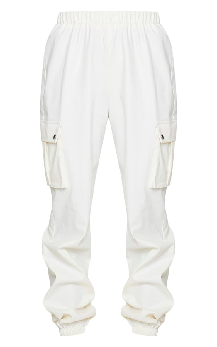 Cream Faux Leather Cargo Pants 5