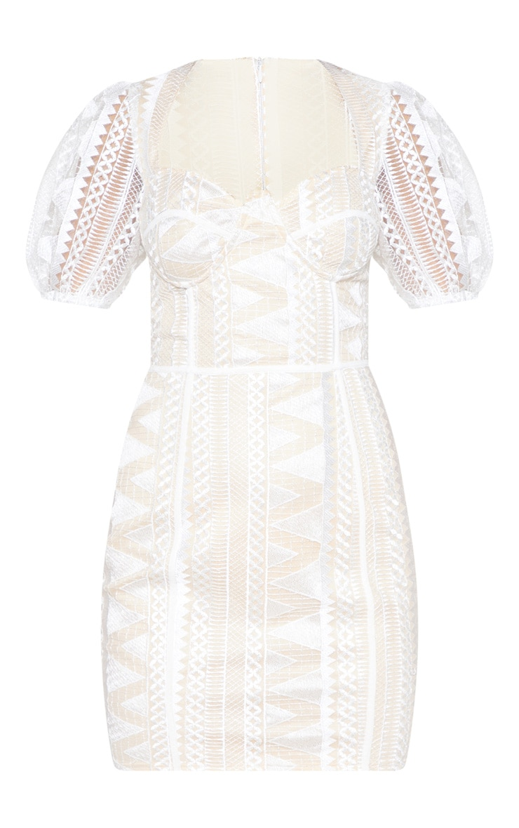 White Lace Puff Sleeve Bodycon Dress 4