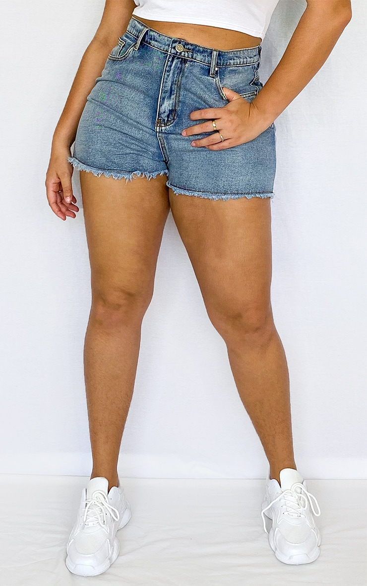 Plus Vintage High Waisted Denim Shorts 2