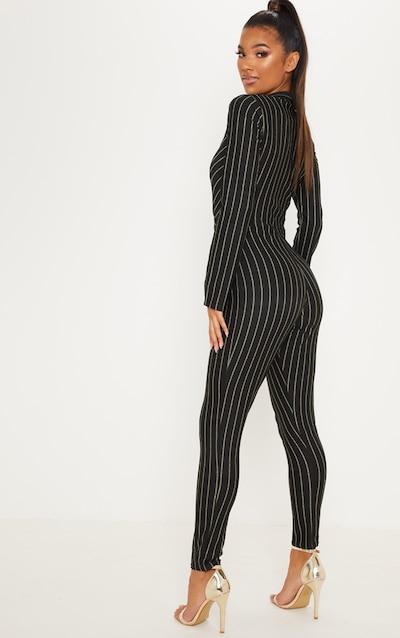 Black Stripe Collar Detail Plunge Slim Leg Jumpsuit