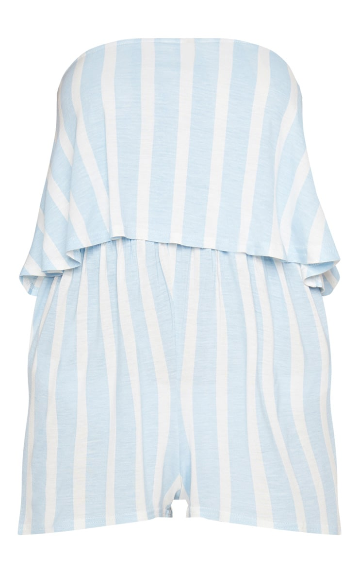Powder Blue Striped Bandeau Layered Playsuit 3
