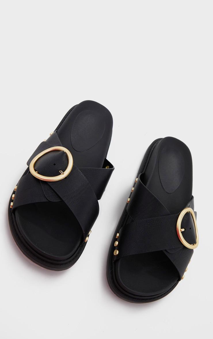Black Cross Strap Buckle Detail Mule Sandal 3