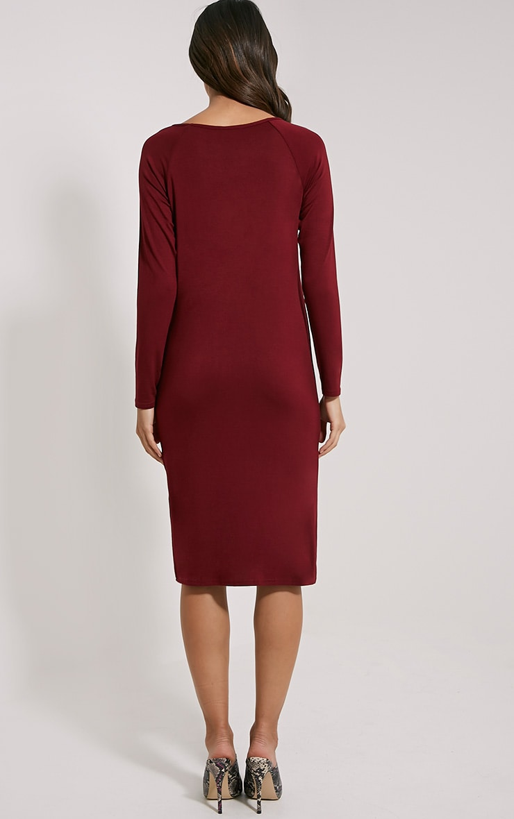 Jean Burgundy Long Sleeve Jersey Midi Dress 2