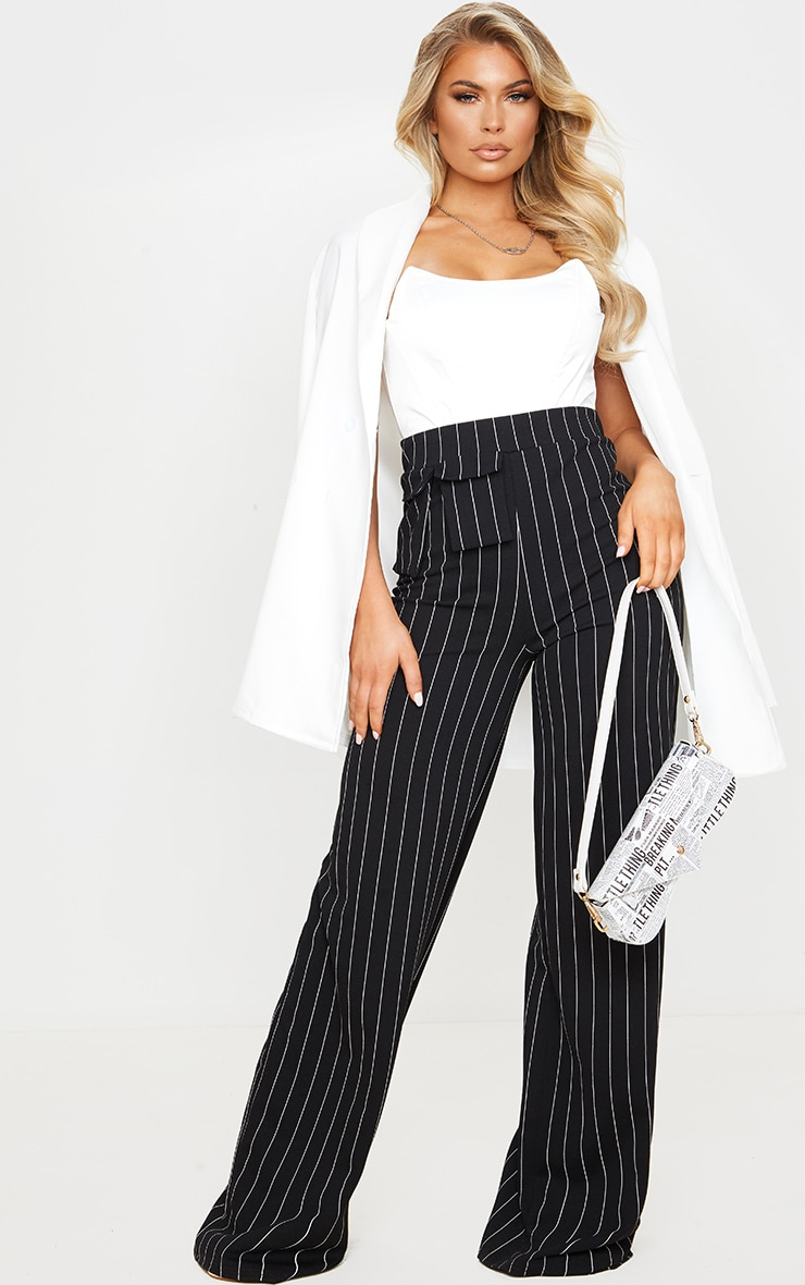 Black Pinstripe Pocket Detail Crepe Wide Leg Trousers 1