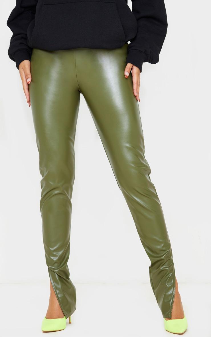 Khaki Faux Leather Split Hem Leggings 2