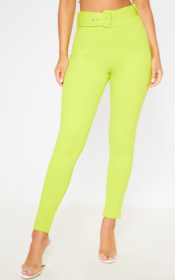 Neon Lime Belted Waist Skinny Trouser 2