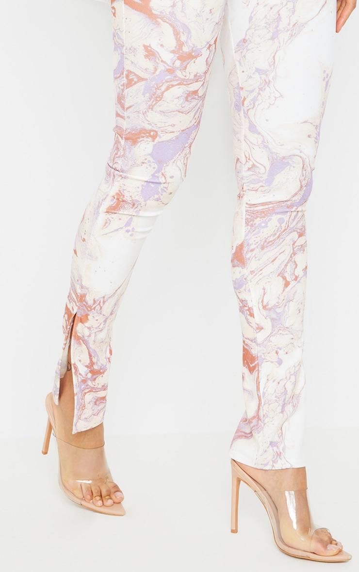 Cream Marble Print Scuba Split Hem Leggings 4