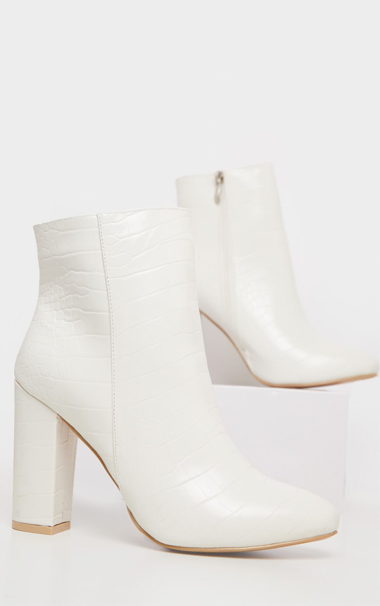 White Croc Behati Ankle Boot 3