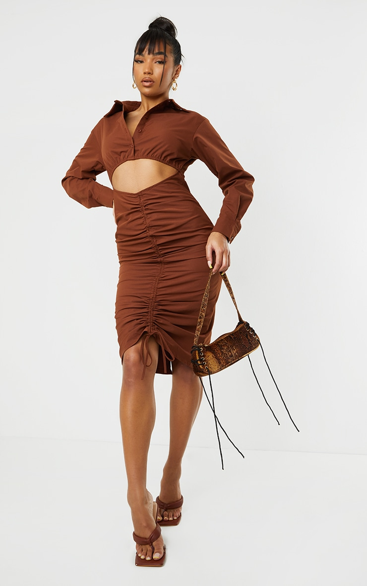 Chocolate Cut Out Ruched Skirt Detail Long Sleeve Shirt Dress 3