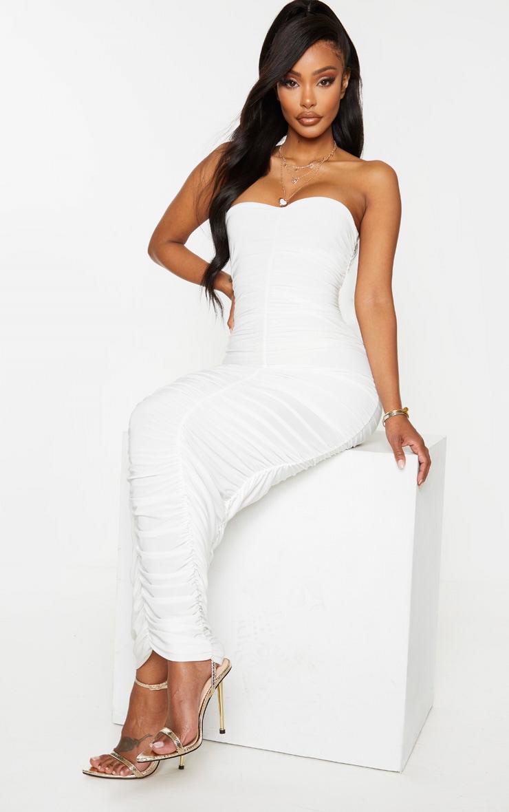 Shape Cream Bandeau Ruched Midaxi Dress 1