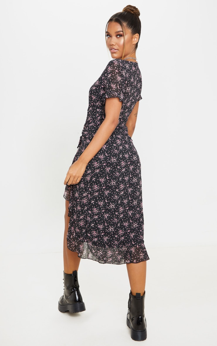 Black Floral Print V Neck Split Midi Dress 2