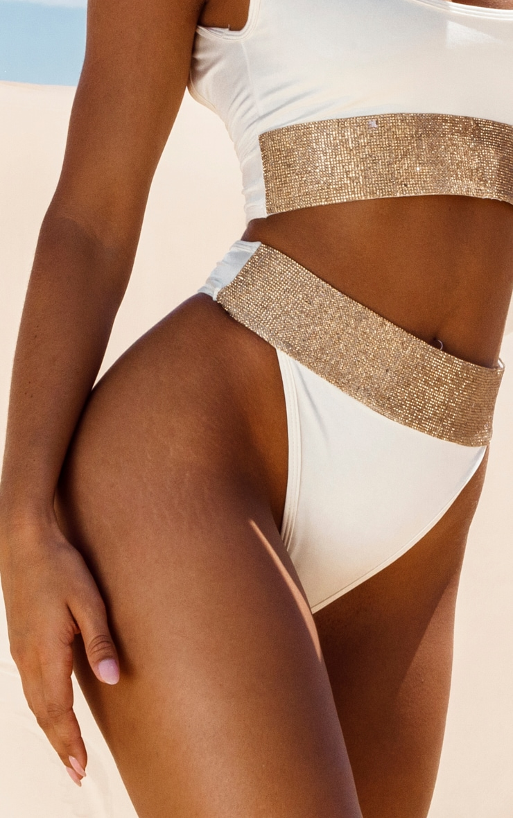 Cream Diamante High Leg Bikini Bottom 1