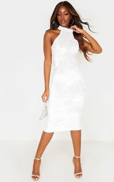 White Crushed Velvet Racer Neck Midi Dress
