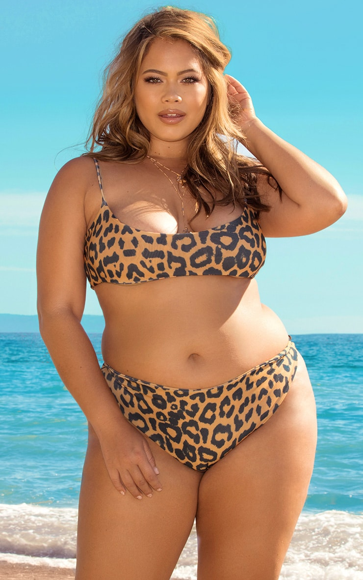 Plus Orange Cheetah Print Low Scoop Bikini Top 1