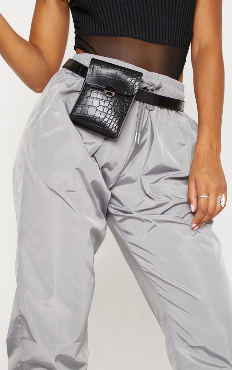 Black Pu Croc Belt Bag