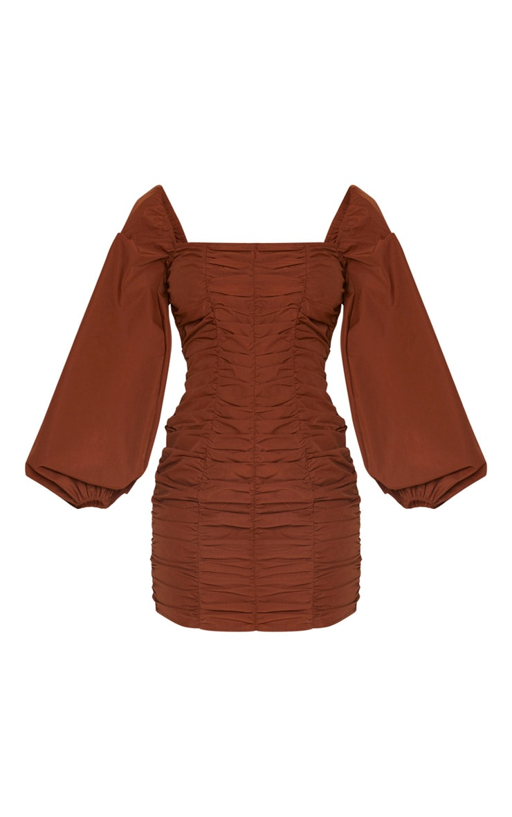 Chocolate Balloon Sleeve Ruched Bodycon Dress 5