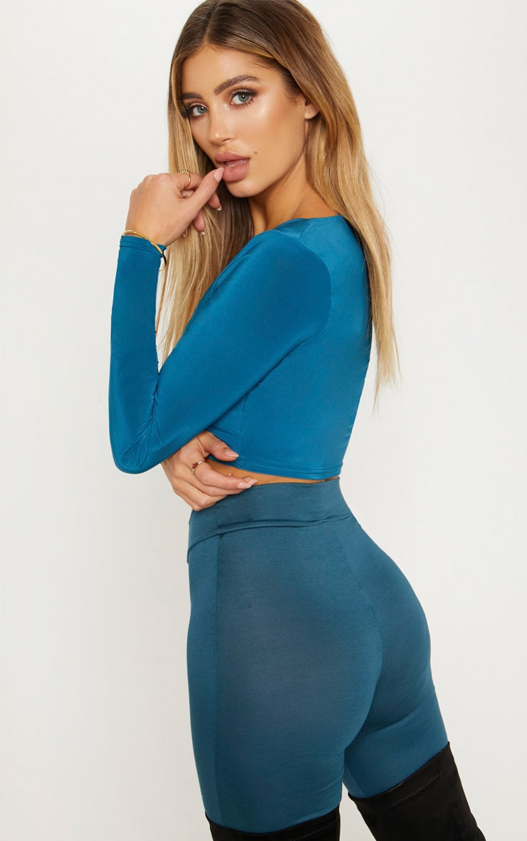 Petrol Blue Second Skin Square Neck Long Sleeve Crop Top  2