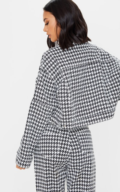 Monochrome Houndstooth Check Denim Jacket