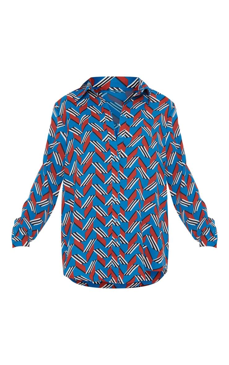 Chemise bleue oversized à colourblock chevrons colorés 3