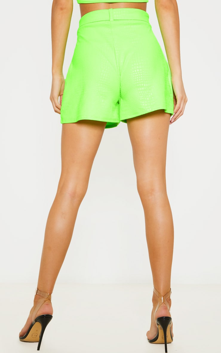 Neon Green Croc Print D Ring Belted Short 4