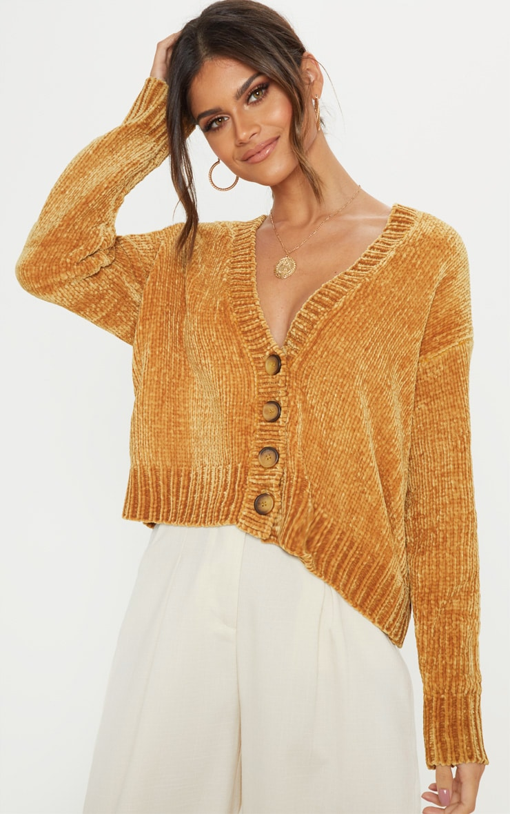 6593784a6be79 Mustard Chenille Knitted Cardigan image 1