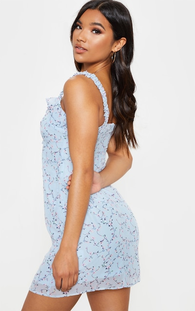 Blue Floral Print Lace Up Shift Dress
