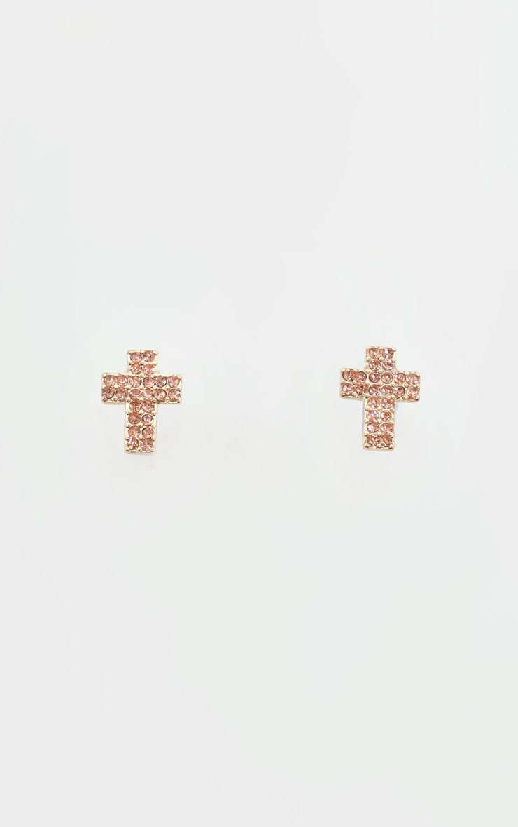 Gold Diamante Cross Stud Earring 2