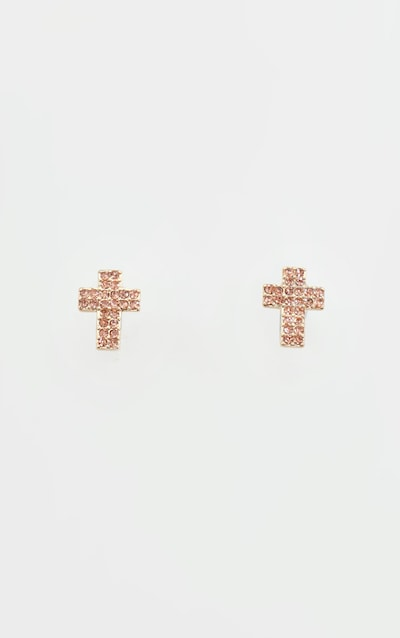 Gold Diamante Cross Stud Earring