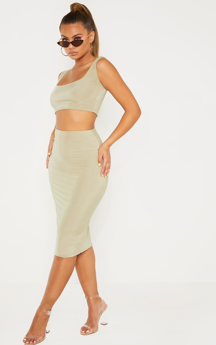 Sage Green Second Skin Slinky Midi Skirt 1