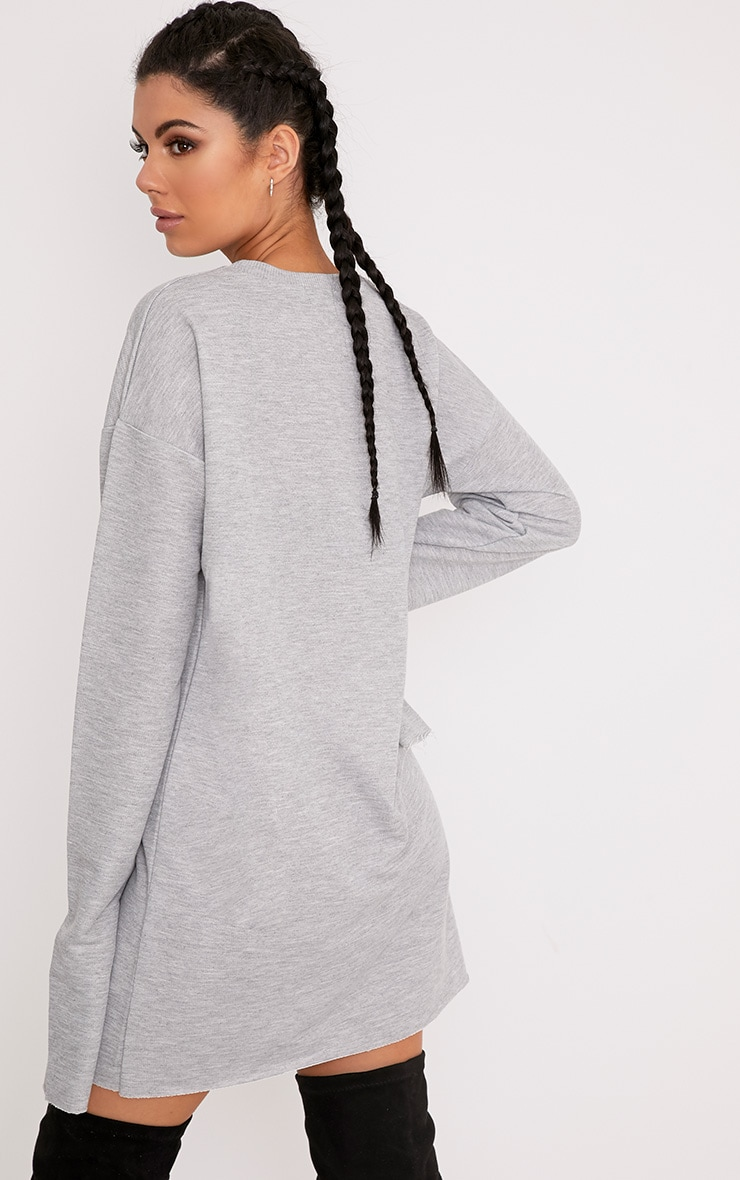Breanna Grey Extreme Long Sleeved Sweater Dress 2