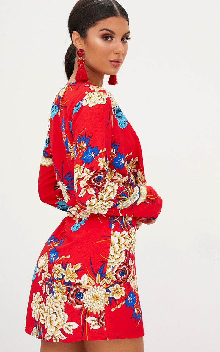 Red Floral Long Sleeve Wrap Dress 2
