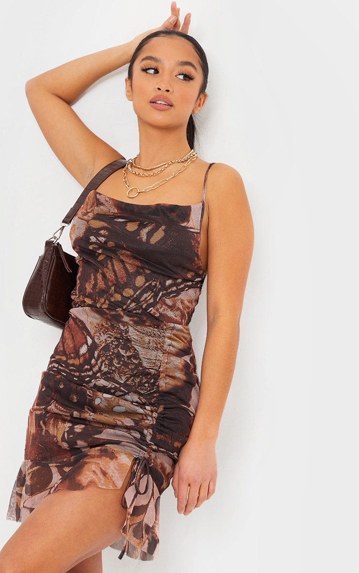 Petite Stone Butterfly Ruched Mesh Dress 1