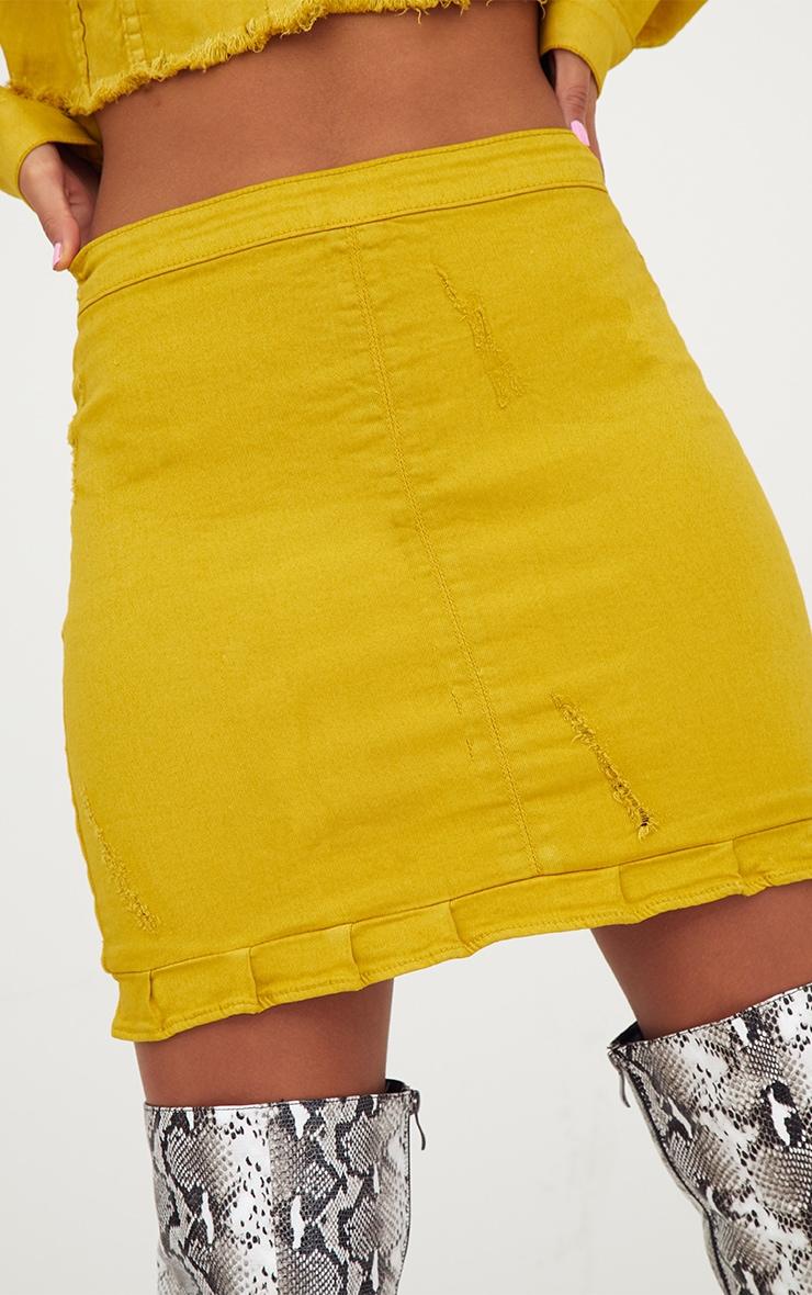 Yellow Ruffle Hem Denim Skirt 5